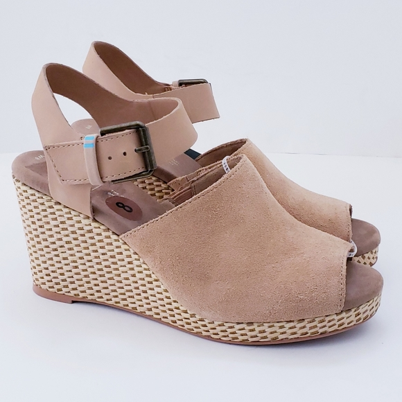 Toms Shoes | Tropez Suede Leather Wedge
